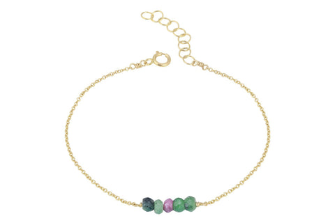 Elements- Ruby in Zoisite 5 stone gold filled adjustable chain bracelet