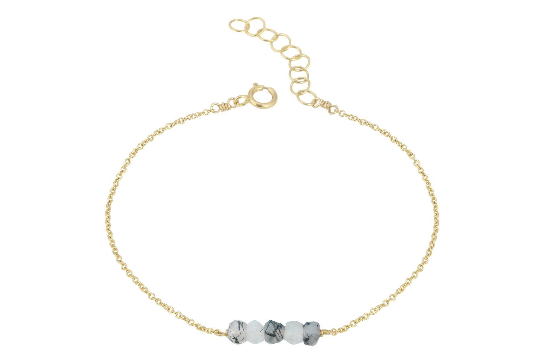 Elements- Tourmalinated Quartz 5 stone gold filled adjustable chain bracelet
