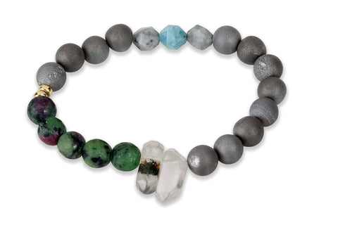 Crystal healing stretchy bracelet-clear quartz, ruby in zoisite, druzy & aquamarine