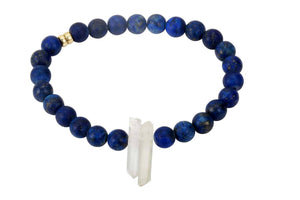 InGauge bracelet - lapis lazuli & clear quartz, 6mm - Amanda K Lockrow