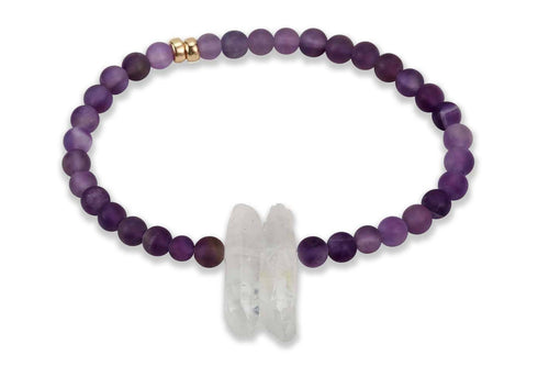 InGauge bracelet - amethyst & clear quartz, 4mm - Amanda K Lockrow