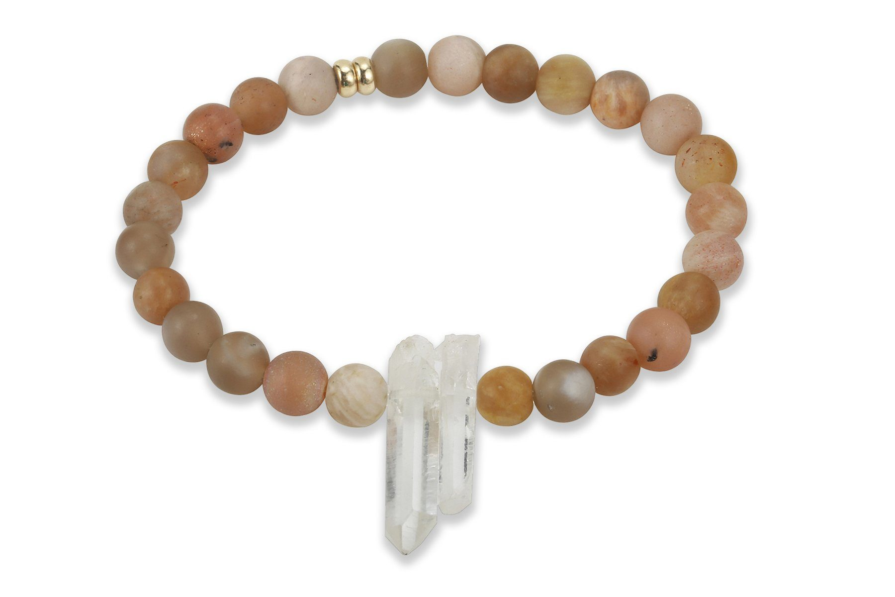 InGauge bracelet - sunstone & clear quartz, 6mm