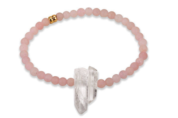 InGauge bracelet - rose quartz & clear quartz, 4mm - Amanda K Lockrow