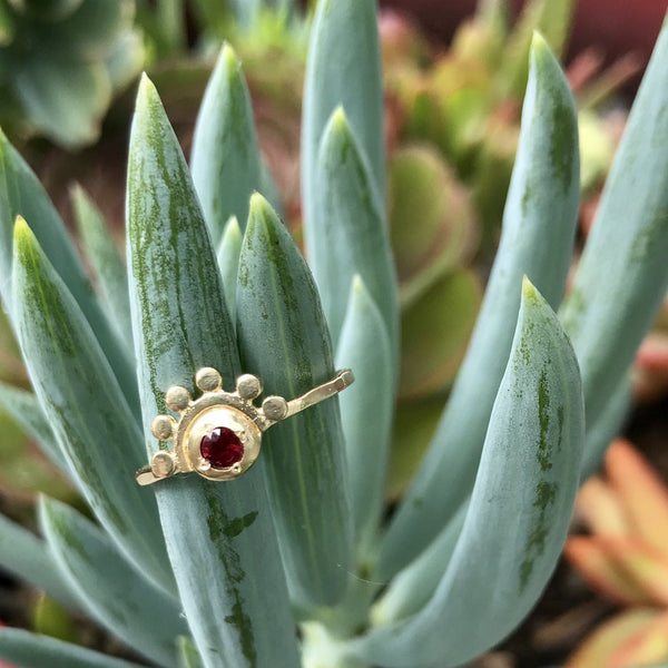 14k yellow gold and diamond oriana ring // golden dawn