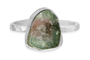 Raw watermelon tourmaline sterling silver ring - size 6