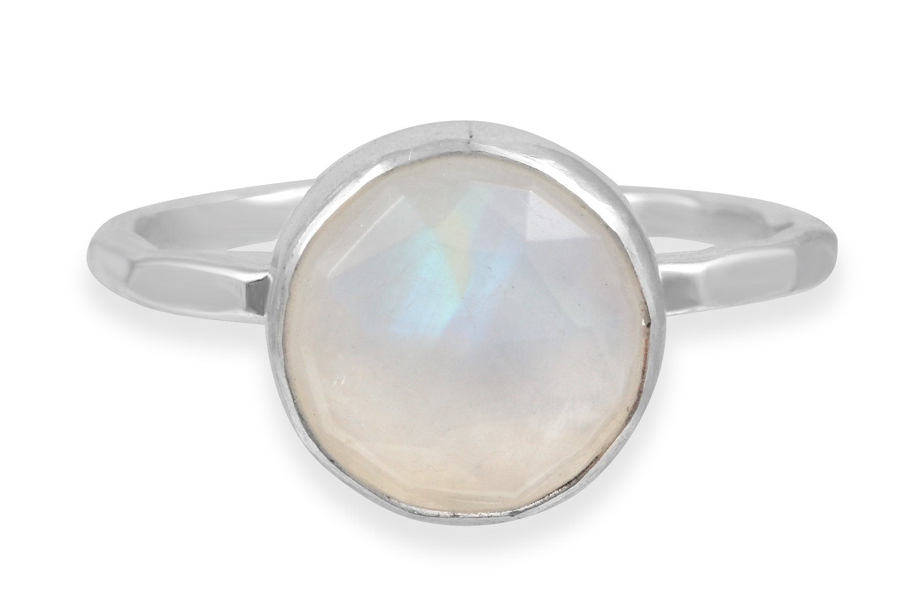 Rainbow moonstone sterling silver ring - size 7.5