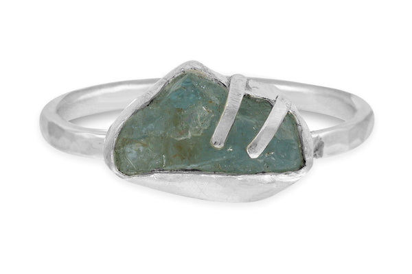 Raw Aquamarine sterling silver ring - size 8
