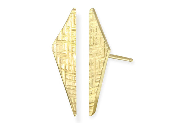 14K Yellow Gold Scalene Triangle Stud Earrings
