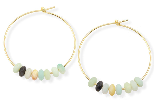 14K gold filled amazonite hoop earrings - Elements hoops
