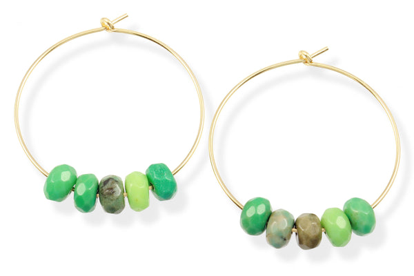 14K gold filled moss opal hoop earrings - Elements hoops
