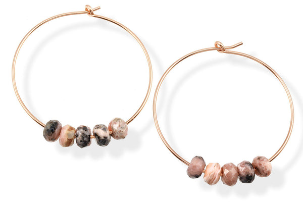 14K gold filled rhodochrosite hoop earrings - Elements hoops