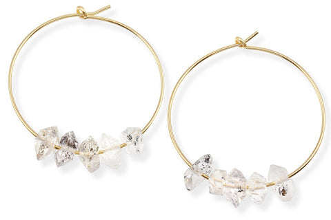 14K gold filled herkimer diamond hoop earrings - Elements hoops