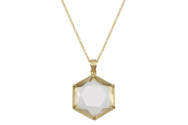 14K Gold Harmonia Clear Quartz Necklace - a collaboration with Casey Van Zandt