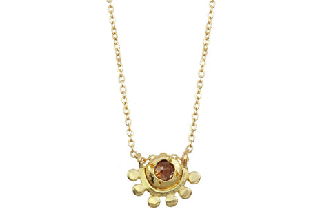 14k yellow gold and rosecut diamond oriana necklace // golden dawn