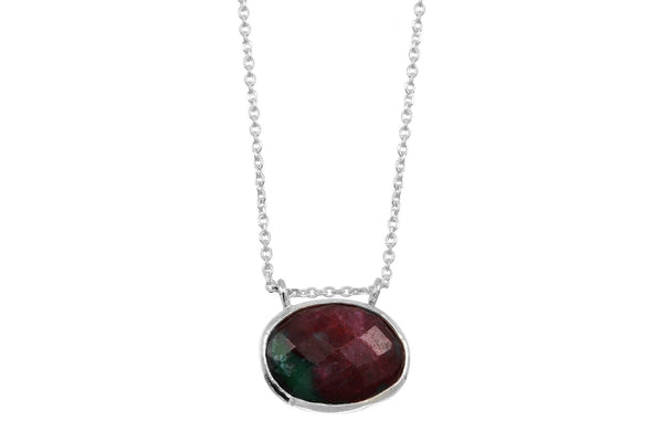Ruby zoisite sterling silver necklace