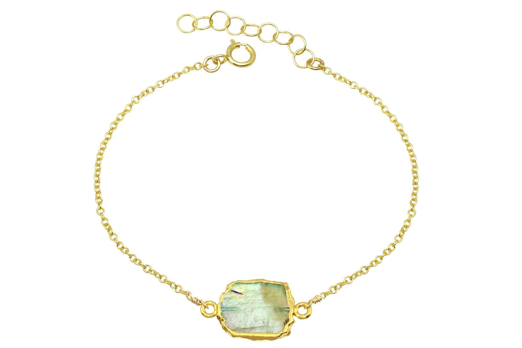 Rhea labradorite 14k yellow gold filled adjustable chain bracelet