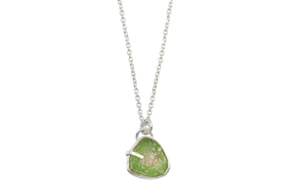 Raw watermelon tourmaline sterling silver necklace