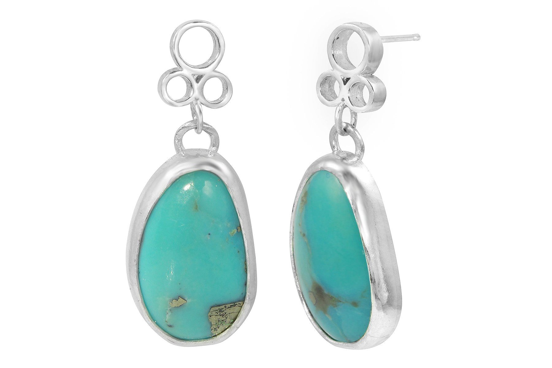 Turquoise with pyrite one of a kind earrings