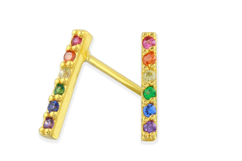 18K yellow gold plated Felicity sterling silver rainbow stud earrings