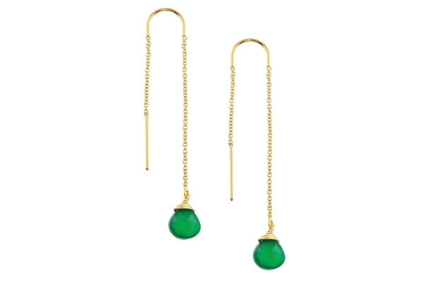 Green onyx drop 14K yellow gold filled threader earrings // ear threads