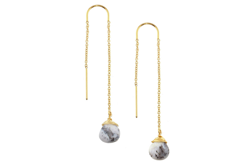 Dendritic Opal drop 14K yellow gold filled threader earrings // ear threads earrings Amanda K Lockrow