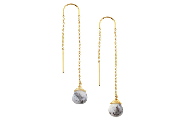 Dendritic Opal drop 14K yellow gold filled threader earrings // ear threads