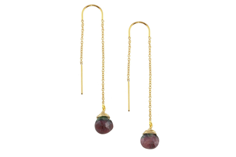 Ruby zoisite drop 14K yellow gold filled threader earrings // ear threads