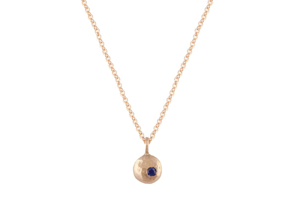14K rose gold & blue sapphire pebble necklace