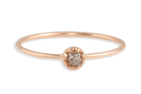 14K rose gold and rosecut brown diamond stacking ring