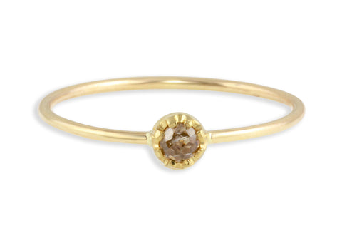 14K yellow gold and rosecut brown diamond stacking ring