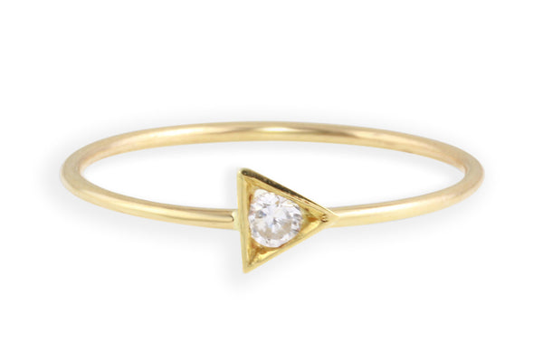 14K gold and diamond strength stacking ring // triangle ring