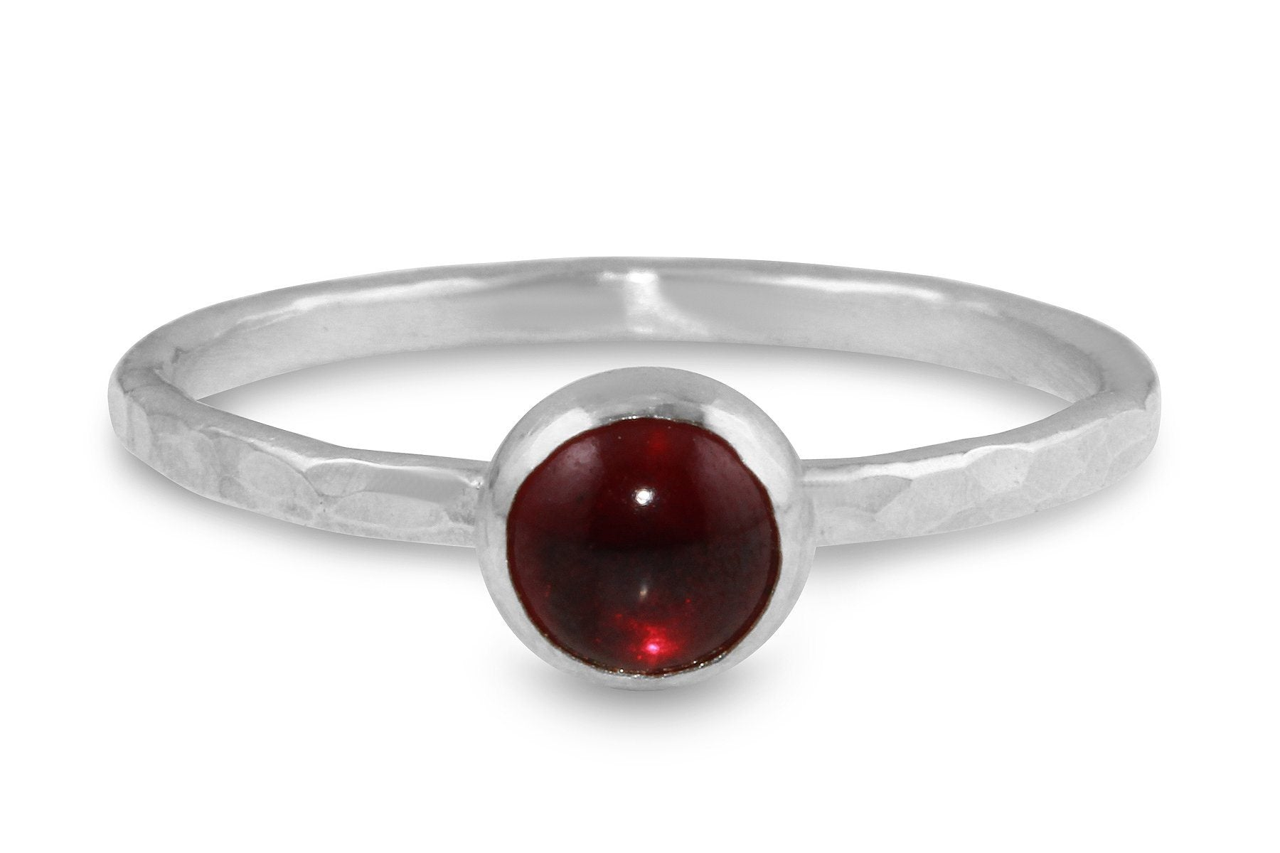 Garnet 6mm sterling silver stacking ring