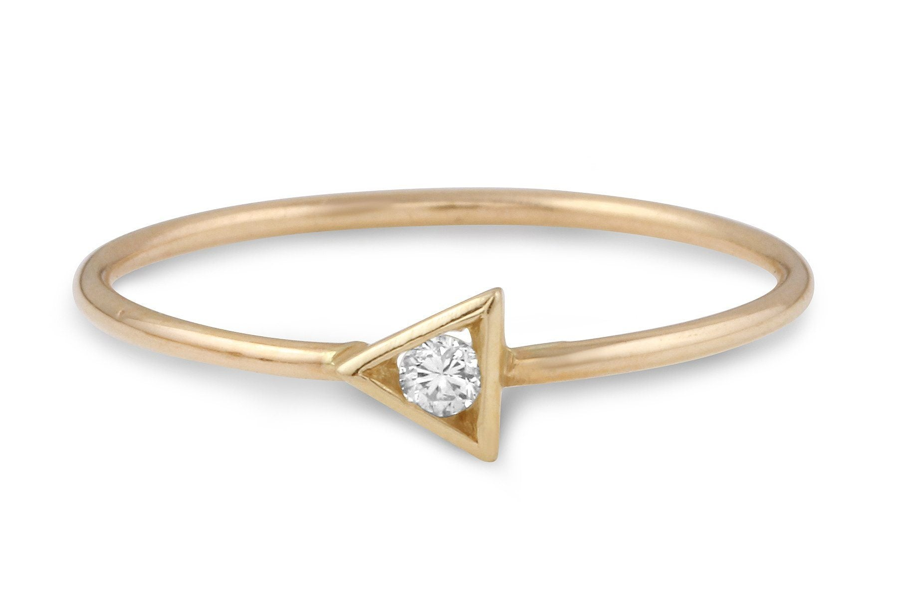 14K gold and diamond strength stacking ring // size 7 // triangle ring