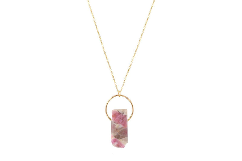 Pink Tourmaline in Quartz bar crystal gold filled necklace necklace Amanda K Lockrow