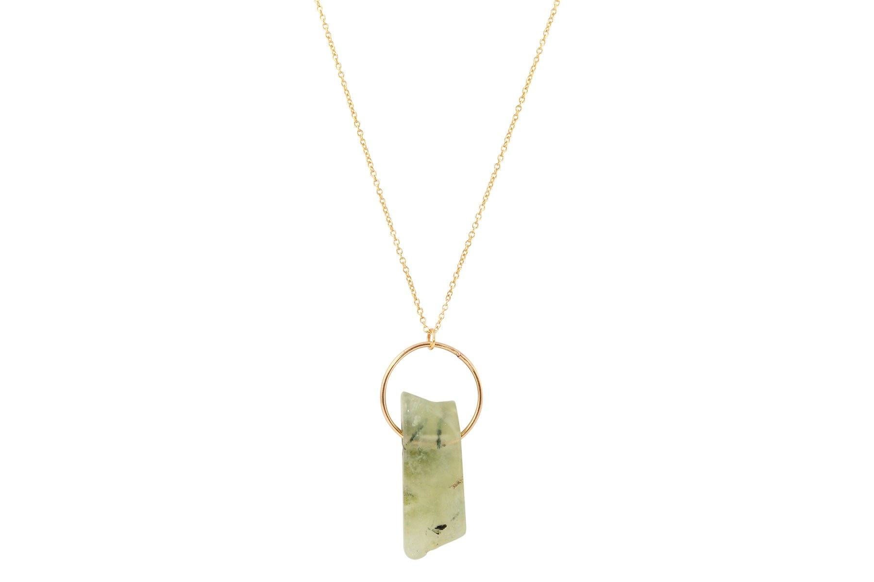 Prehnite crystal bar 14K yellow gold filled necklace