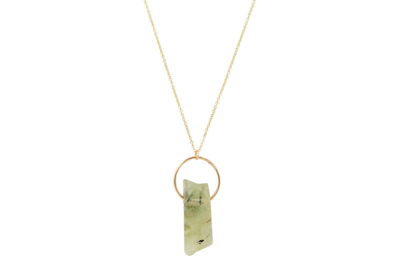 Prehnite crystal bar 14K yellow gold filled necklace necklace Amanda K Lockrow