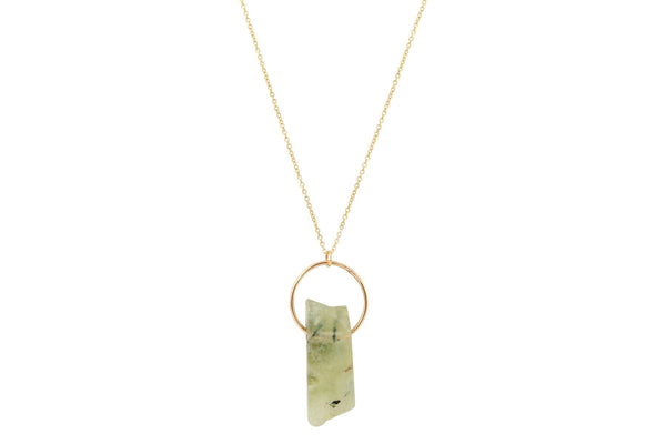 Prehnite crystal bar 14K yellow gold filled necklace - Amanda K Lockrow