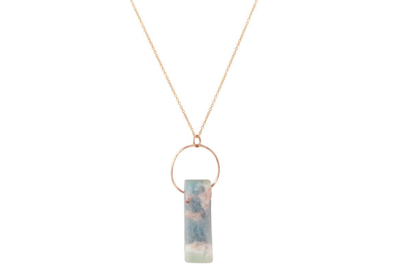 Aquamarine bar crystal gold filled necklace