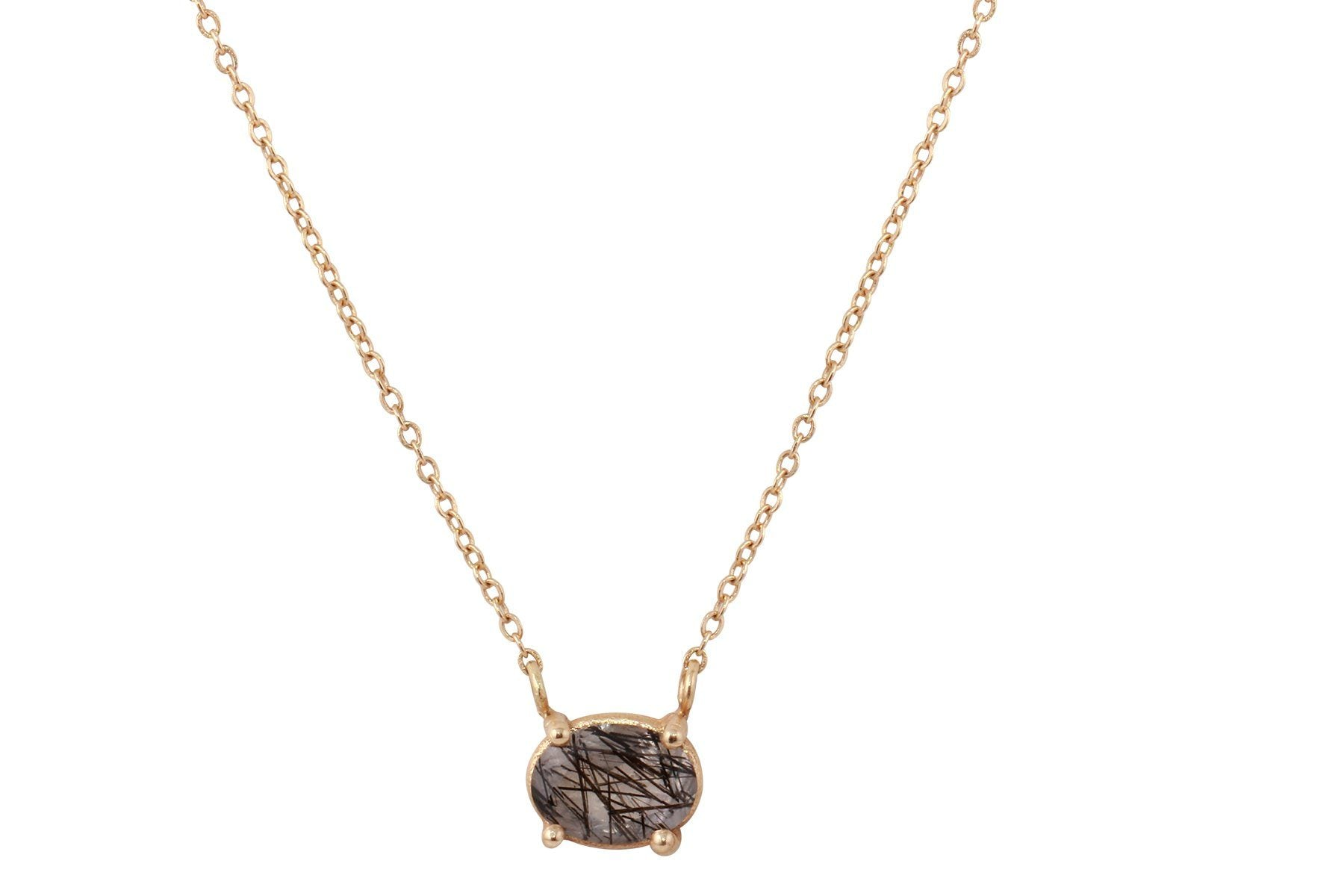 14K gold dainty tourmalinated quartz necklace - Amanda K Lockrow