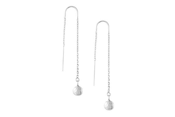 Sterling Silver Pebble Ear Threader Earrings - Amanda K Lockrow