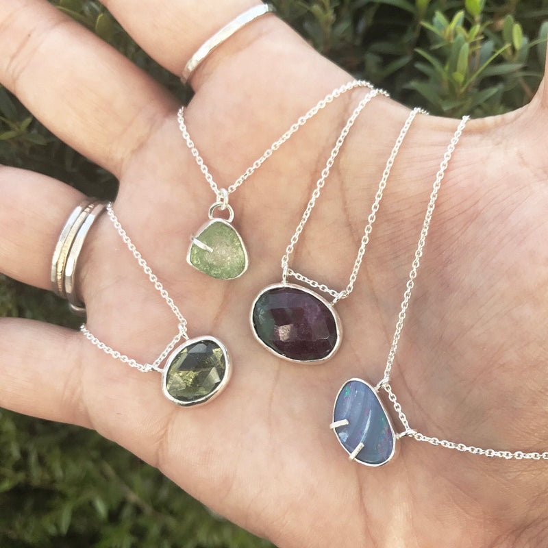 Raw watermelon tourmaline sterling silver necklace necklace Amanda K Lockrow