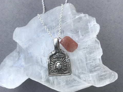 Sun amulet sterling silver necklace