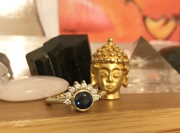 14K diamond and blue sapphire engagement ring