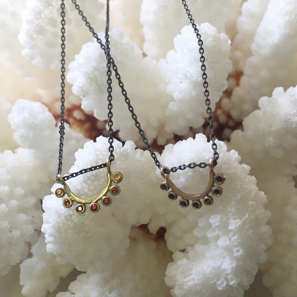 14k gold sapphire and blackened silver dainty sunrise necklace - Amanda K Lockrow