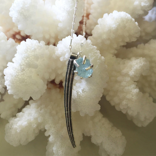 Tusk shell & raw aquamarine necklace