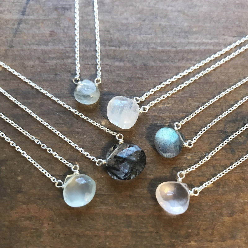 Dainty labradorite sterling silver necklace // bridesmaid gift necklace Amanda K Lockrow