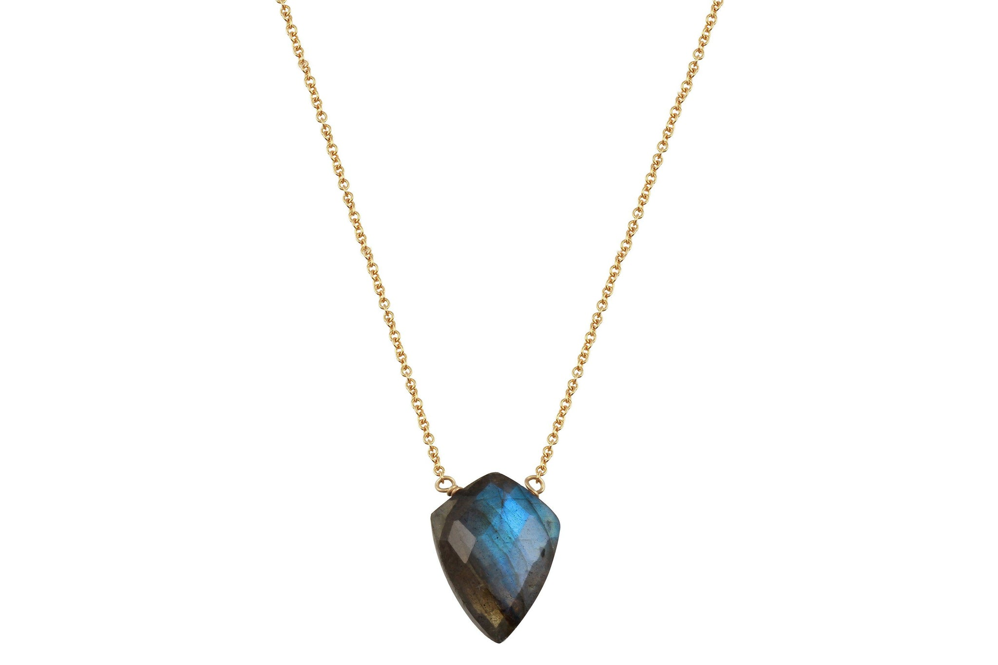 Labradorite shield 14k yellow gold filled necklace