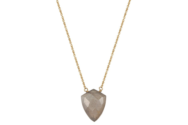 Grey moonstone shield 14k yellow gold filled necklace