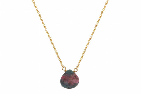 Little rock ruby zoisite flat drop necklace