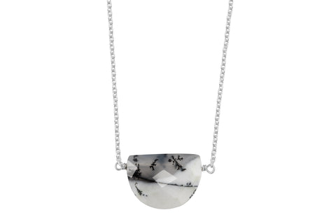 Dendritic opal half moon sterling silver necklace